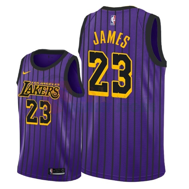 Maillot NBA Nike Los Angeles Lakers NO.23 Lebron James Nike Pourpre Ville 2018-19