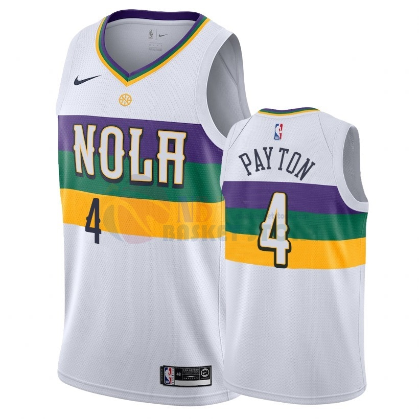 Maillot NBA Nike New Orleans Pelicans NO.4 Elfrid Payton Nike Blanc Ville 2018-19