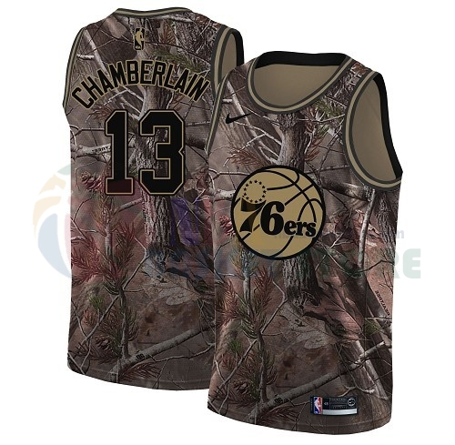Maillot NBA Philadelphia Sixers NO.13 Wilt Chamberlain Camo NBA Swingman Collection Realtree 2018