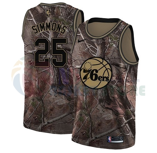 Maillot NBA Philadelphia Sixers NO.25 Ben Simmons Camo NBA Swingman Collection Realtree 2018