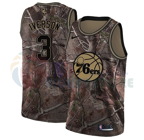 Maillot NBA Philadelphia Sixers NO.3 Allen Iverson Camo NBA Swingman Collection Realtree 2018