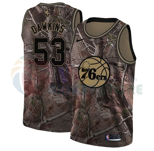 Maillot NBA Philadelphia Sixers NO.53 Darryl Dawkins Camo NBA Swingman Collection Realtree 2018