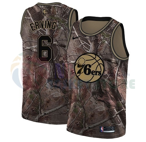 Maillot NBA Philadelphia Sixers NO.6 Julius Erving Camo NBA Swingman Collection Realtree 2018