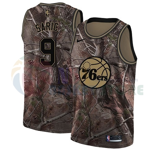 Maillot NBA Philadelphia Sixers NO.9 Dario Saric Camo NBA Swingman Collection Realtree 2018
