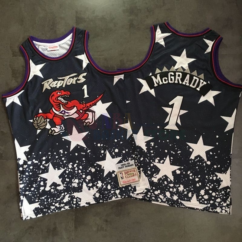 Maillot NBA Toronto Raptors NO.1 Tracy Mcgrady Retro Noir Au