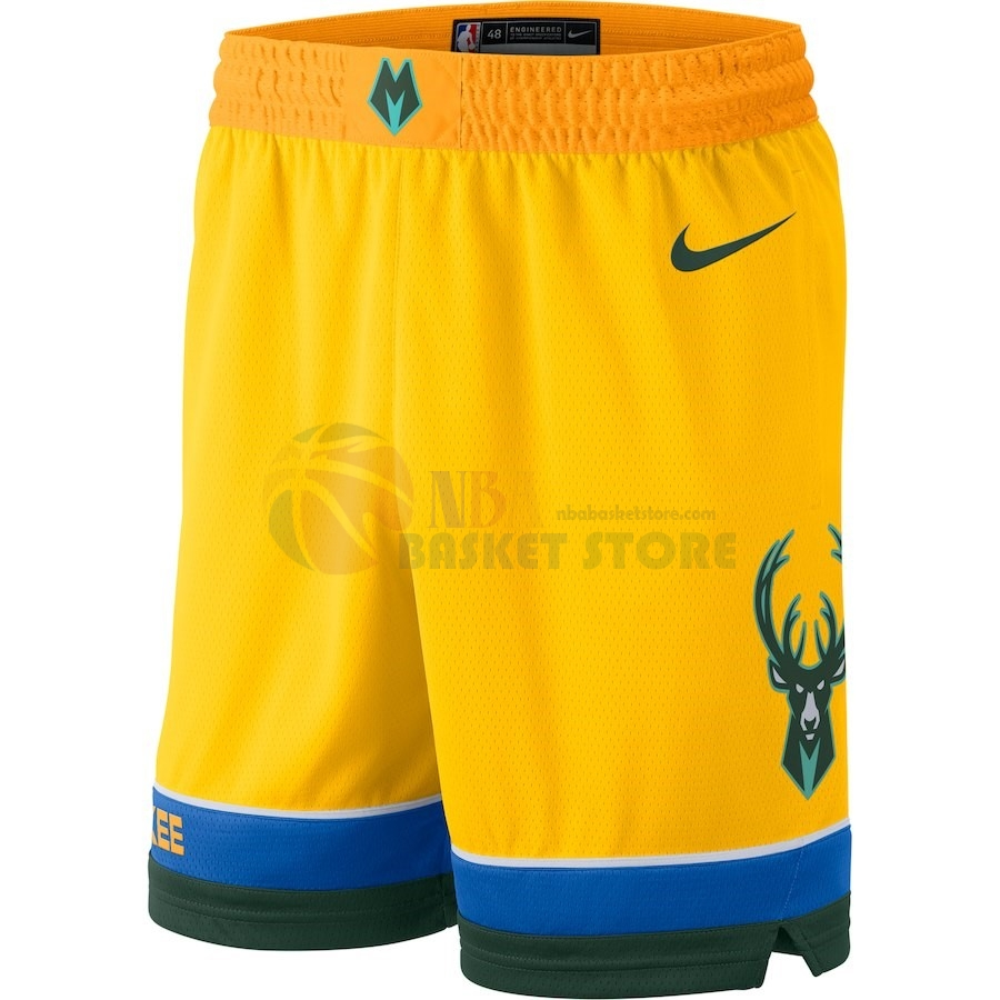 Pantalon Basket Milwaukee Bucks Nike Jaune Ville 2018-19