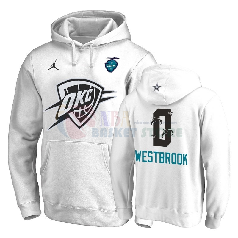 Hoodies 2019 All Star Oklahoma City Thunder NO.0 Russell Westbrook Blanc