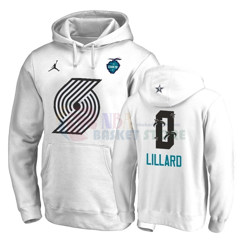 Hoodies 2019 All Star Portland Trail Blazers NO.0 Damian Lillard Blanc