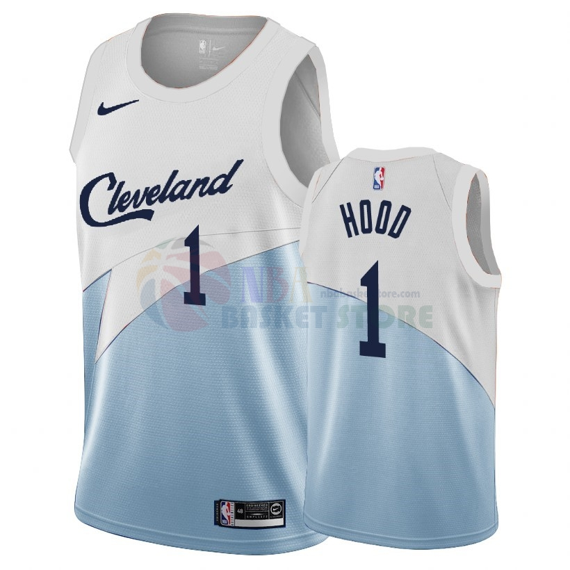Maillot NBA Earned Edition Cleveland Cavaliers NO.1 Rodney Hood Bleu 2018-19