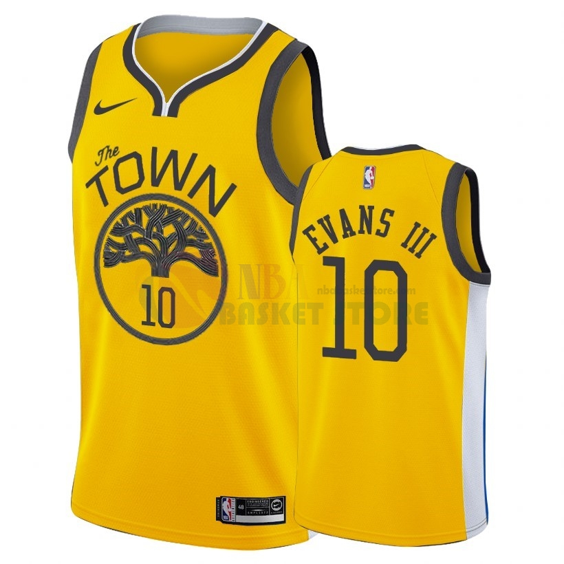 Maillot NBA Earned Edition Golden State Warriors NO.10 Jacob Evans Iii Nike Or 2018-19