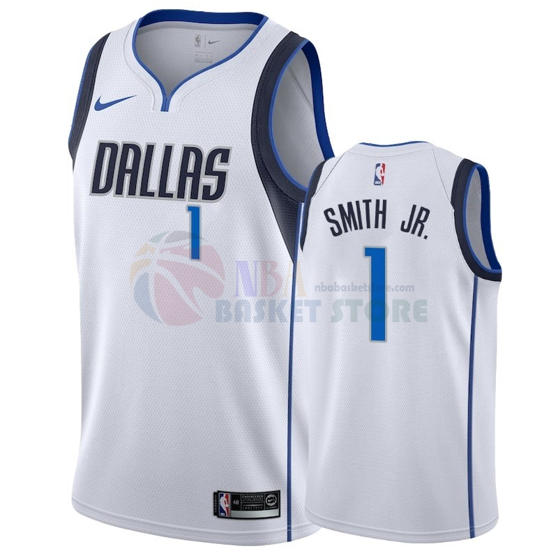 Maillot NBA Nike Dallas Mavericks NO.1 Dennis Smith Jr Blanc Association 2018-19