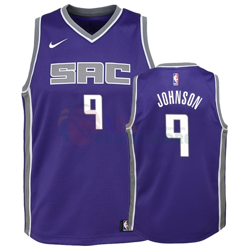 Maillot NBA Enfant Sacramento Kings NO.9 B.J. Johnson Pourpre Icon