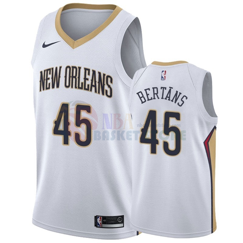 Maillot NBA Nike New Orleans Pelicans NO.45 Dairis Bertans Blanc Association 2018-19