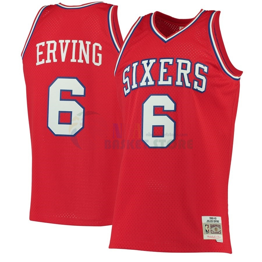 Maillot NBA Philadelphia Sixers NO.6 Julius Erving Rouge Hardwood Classics 1982-83