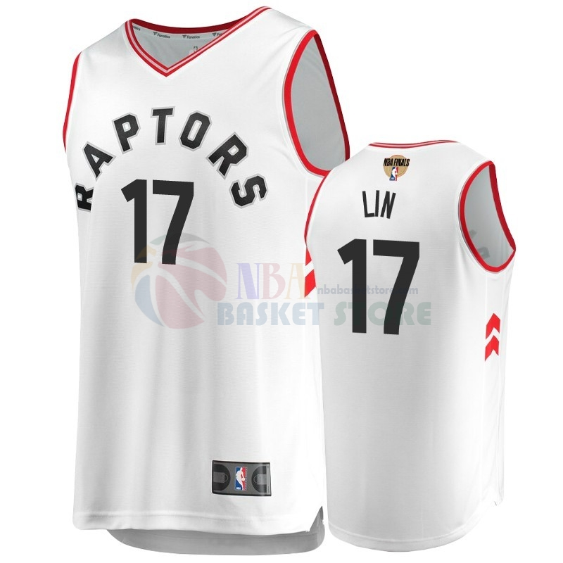 Maillot Toronto Raptors 2019 NBA Finales NO.17 Jeremy Lin Blanc Retro Association