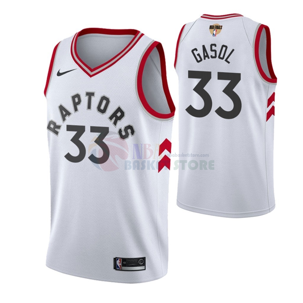Maillot Toronto Raptors 2019 NBA Finales NO.33 Marc Gasol Blanc Association