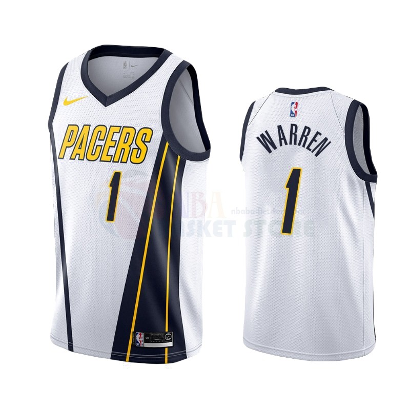 Achat Maillot Earned Edition Indiana Pacers NO.26 T.J. Warren Gray Blanc 2019-20