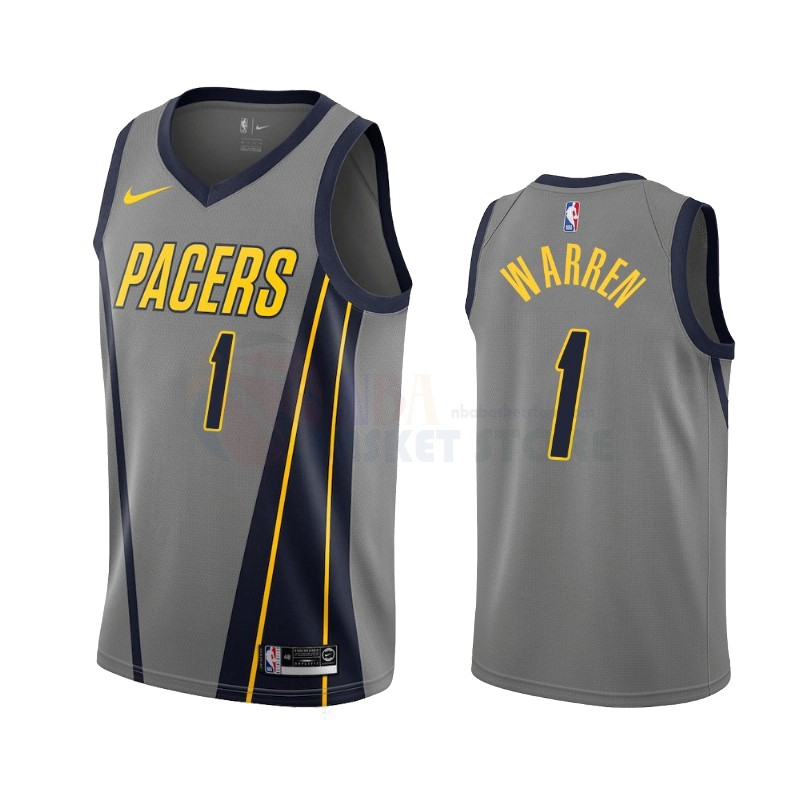 Achat Maillot NBA Nike Indiana Pacers NO.1 T.J. Warren Gray Nike Grigio Ville 2019-20