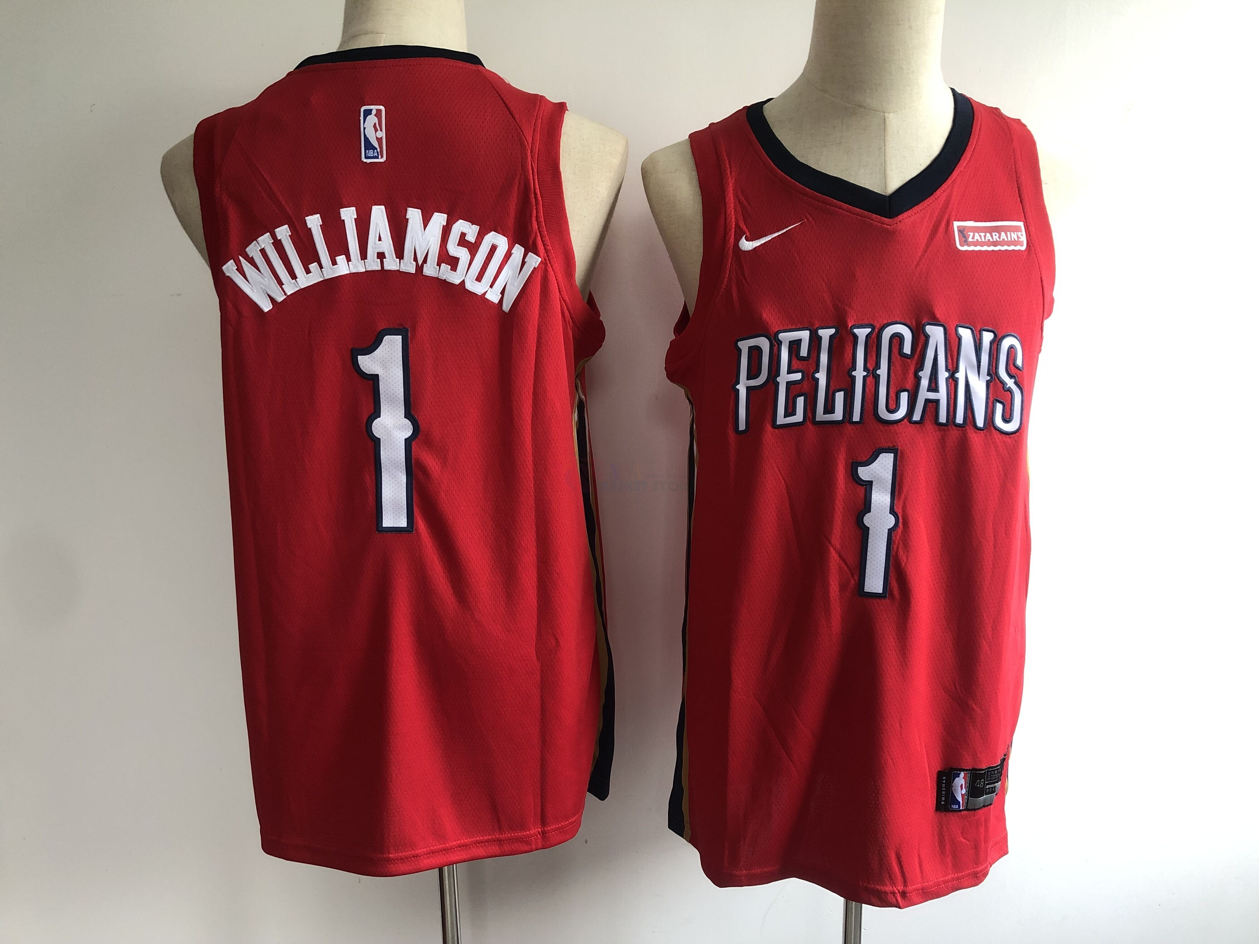Achat Maillot NBA Nike New Orleans Pelicans NO.1 Zion Williamson Rouge 2019-20