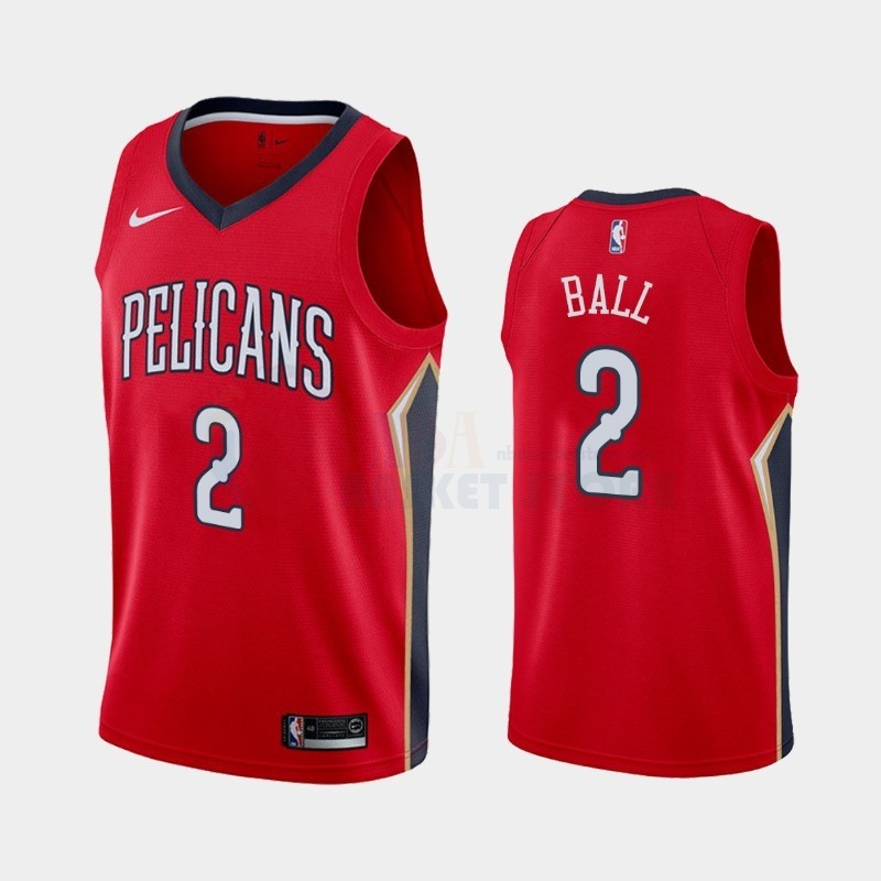 Achat Maillot NBA Nike New Orleans Pelicans NO.2 Lonzo Ball Rouge Statement 2019-20