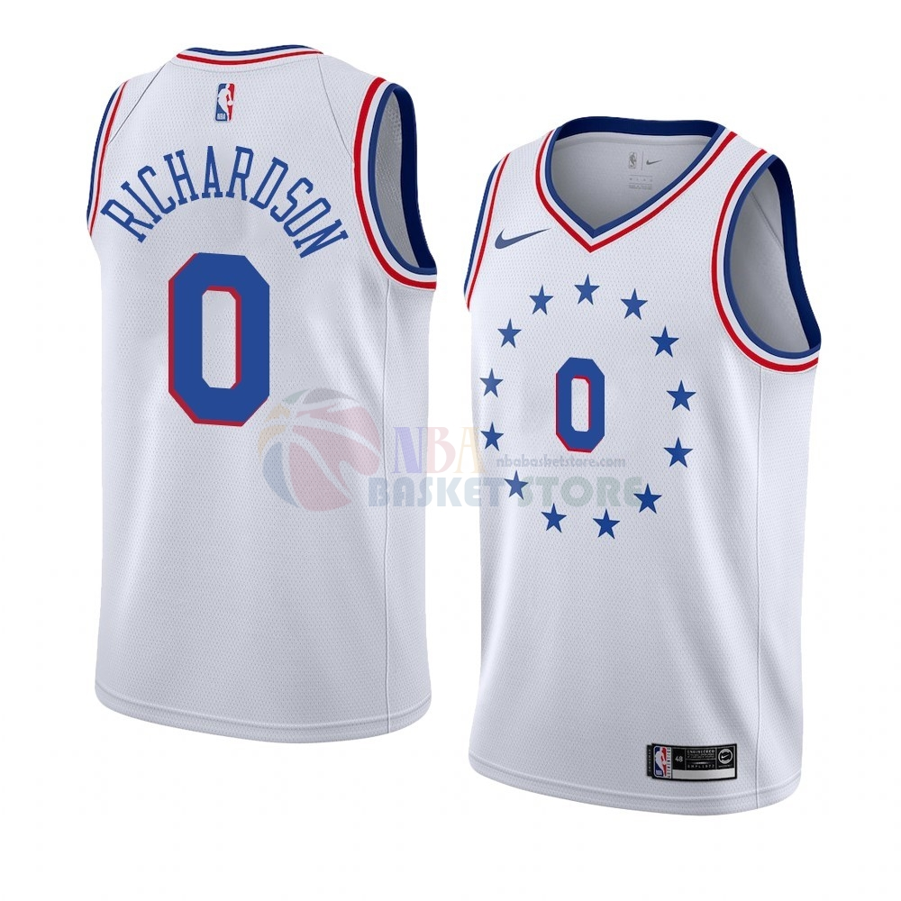Maillot Earned Edition Philadelphia Sixers NO.0 Josh Richardson Blanc 2019-20
