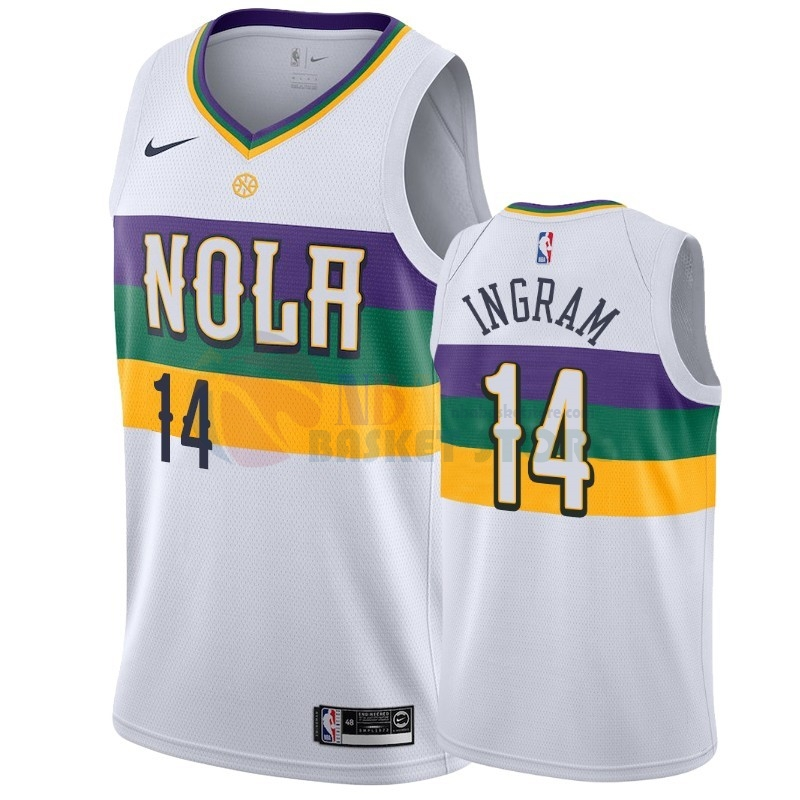 Maillot NBA Nike New Orleans Pelicans NO.14 Brandon Ingram Blanc Ville 2019-20