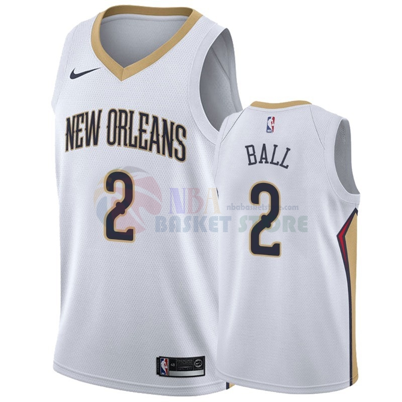 Maillot NBA Nike New Orleans Pelicans NO.2 Lonzo Ball Blanc Association 2019-20
