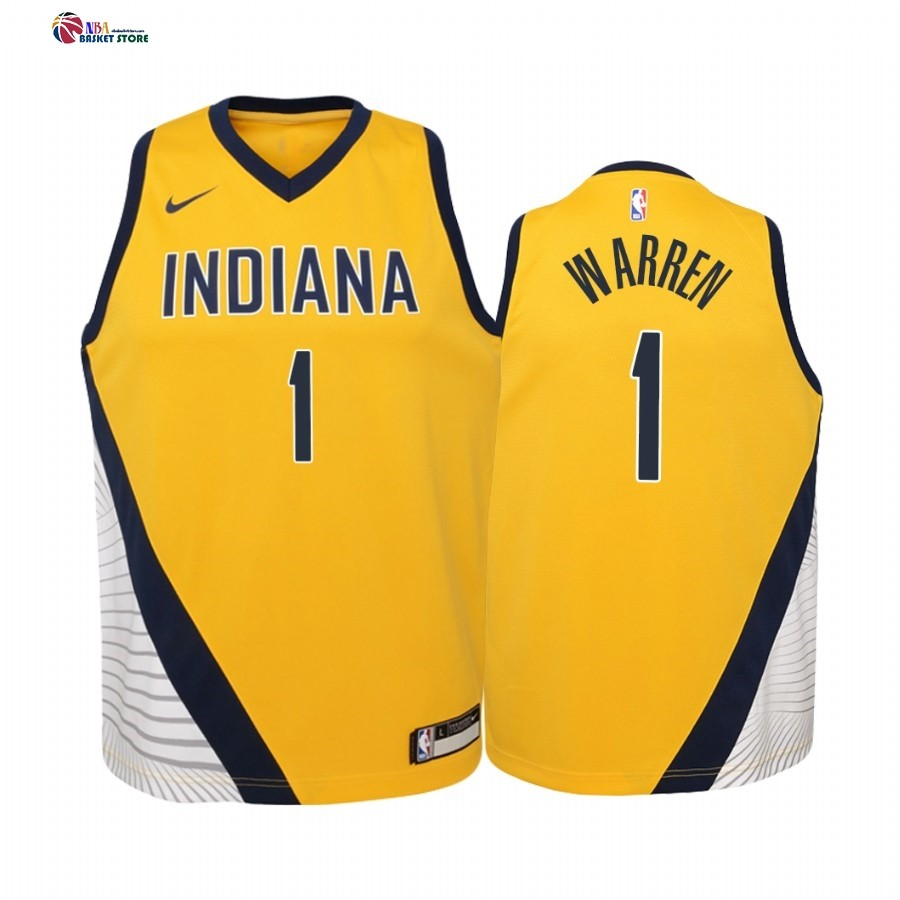 Maillot NBA Enfant Indiana Pacers NO.1 T.J. Warren Jaune Statement 2019-20