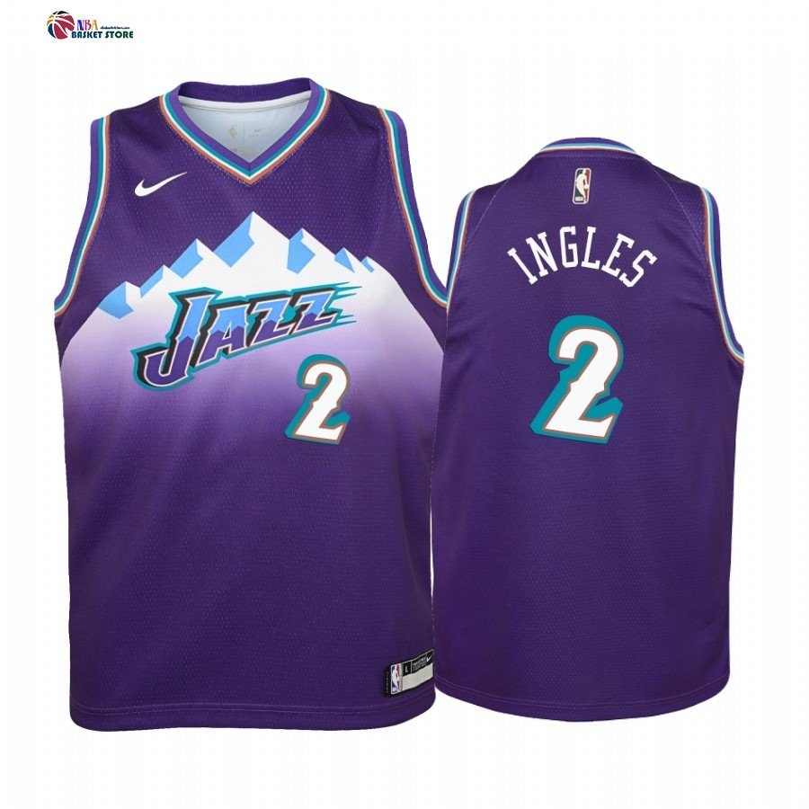 Maillot NBA Enfant Utah Jazz NO.2 Joe Ingles Pourprel Hardwood Classics 2019-20