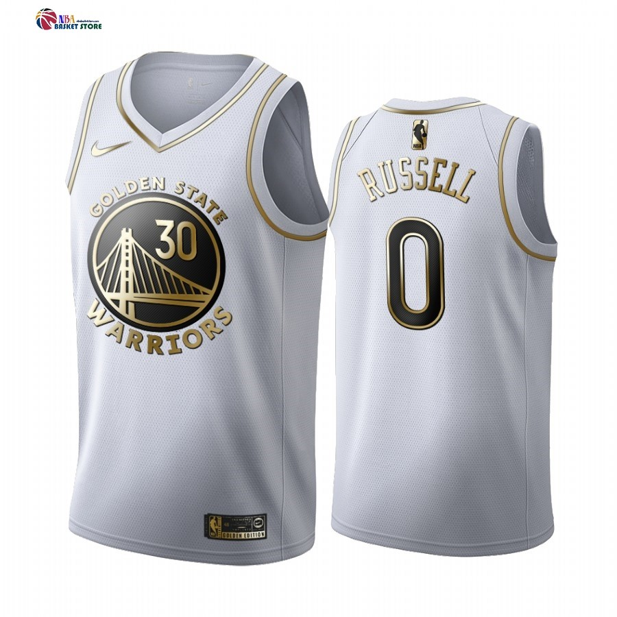 Maillot NBA Nike Golden State Warriors NO.0 D'Angelo Russell Blanc Or 2019-20