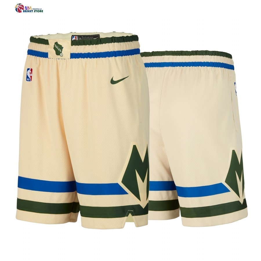 Pantalon Basket Milwaukee Bucks Nike Crème Ville 2019-20