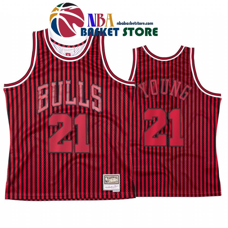 Maillot NBA Chicago Bulls Independence Day NO.21# Thaddeus Young Rouge Hardwood Classics