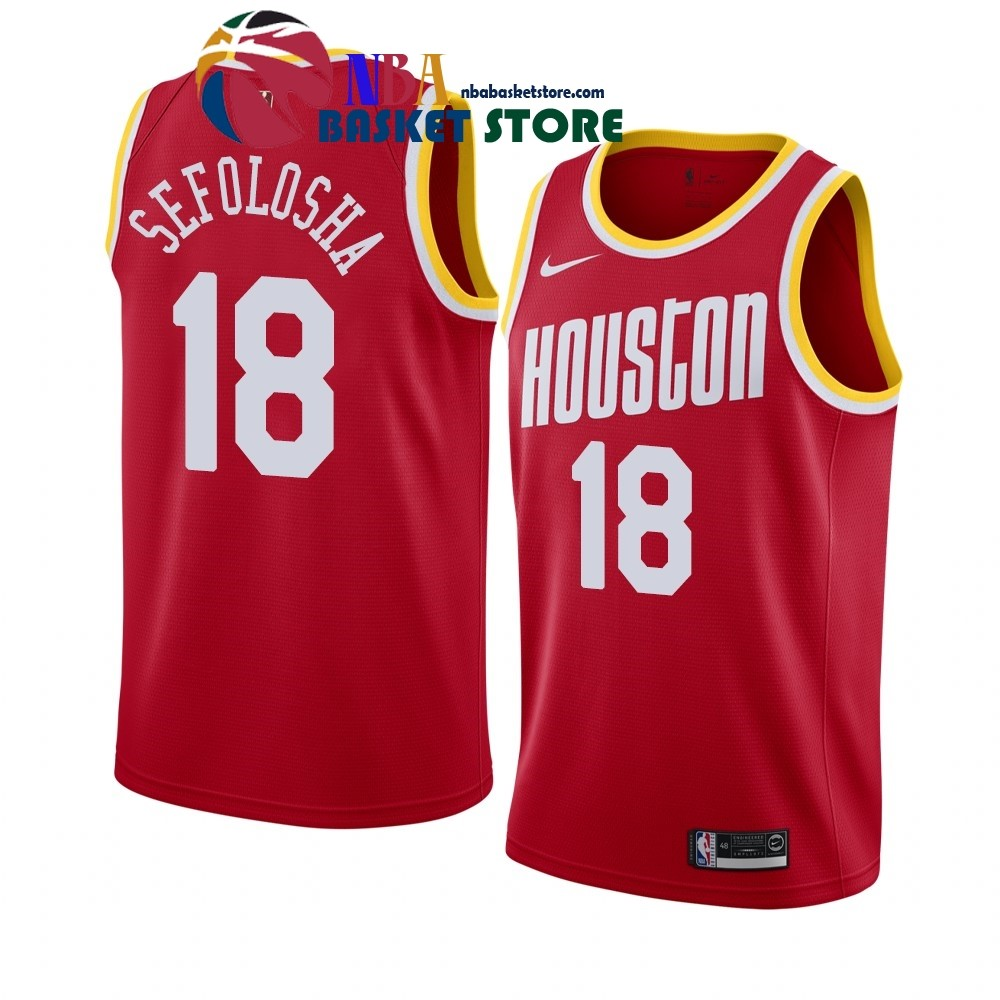 Maillot NBA Houston Rockets NO.18# Thabo Safolosha Rouge Hardwood Classics