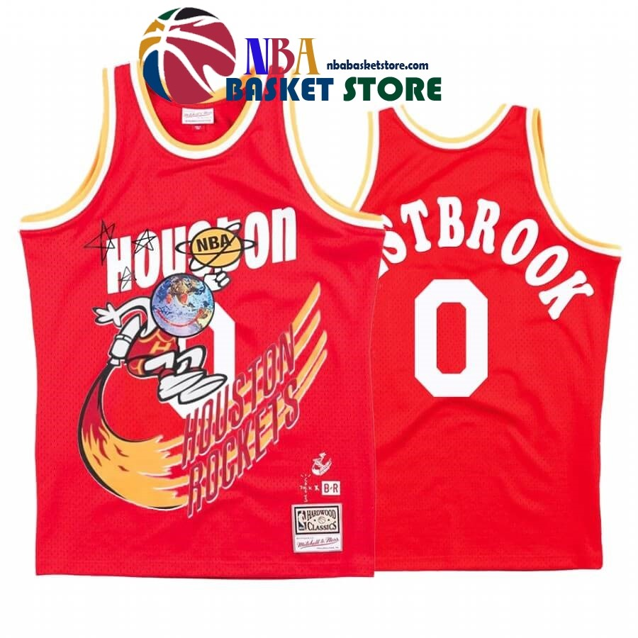 Maillot NBA Houston Rockets X Travis Sott NO.0# Russell Westbrook Rouge Hardwood Classics