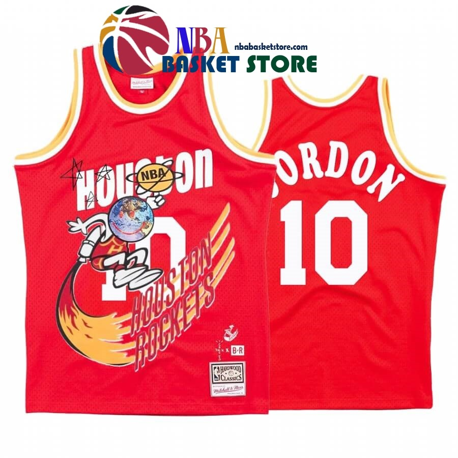 Maillot NBA Houston Rockets X Travis Sott NO.10# Eric Gordon Rouge Hardwood Classics