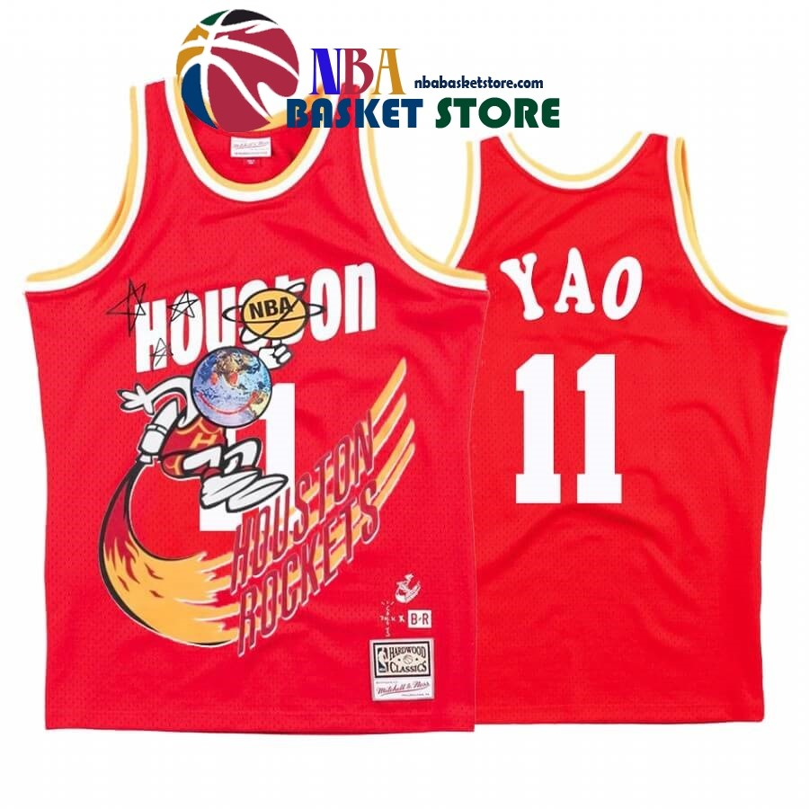Maillot NBA Houston Rockets X Travis Sott NO.11# Yao Ming Rouge Hardwood Classics
