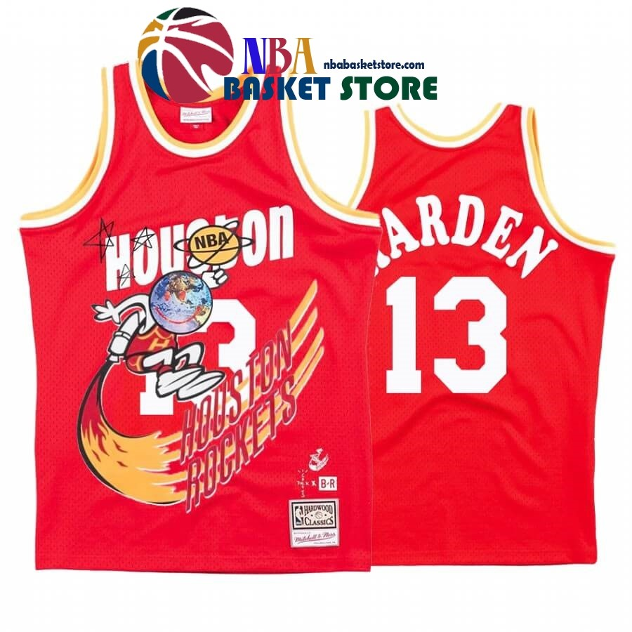 Maillot NBA Houston Rockets X Travis Sott NO.13# James Harden Rouge Hardwood Classics