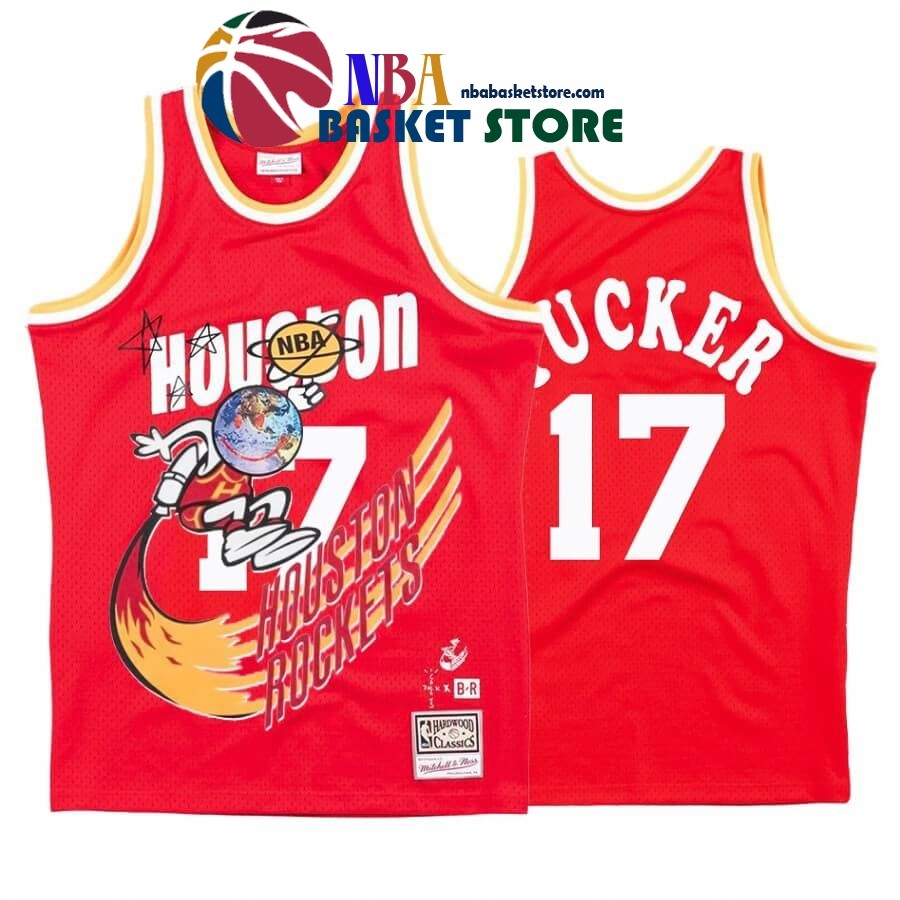 Maillot NBA Houston Rockets X Travis Sott NO.17# P.J. Tucker Rouge Hardwood Classics