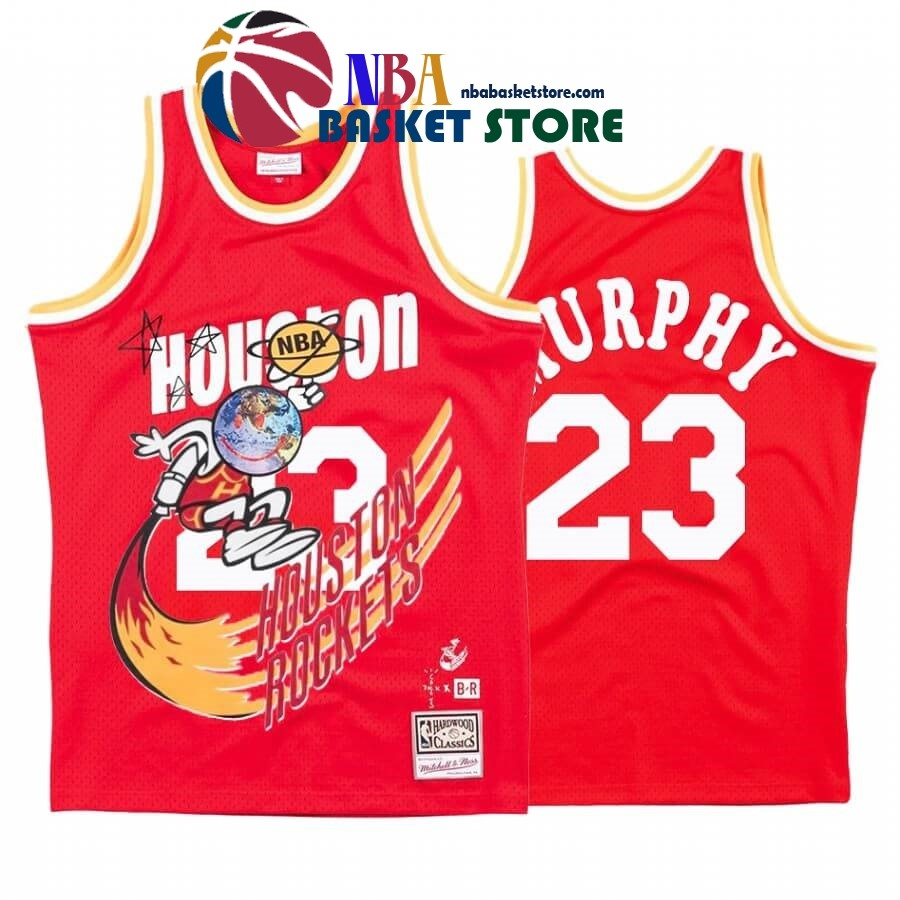 Maillot NBA Houston Rockets X Travis Sott NO.23# Calvin Murphy Rouge Hardwood Classics