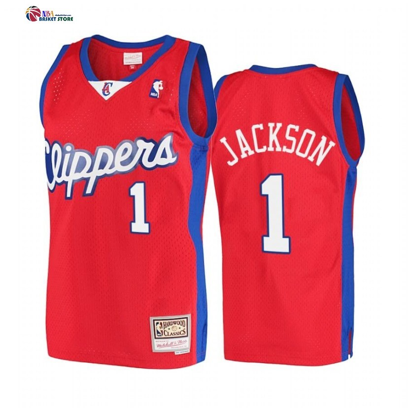 Maillot NBA Los Angeles Clippers NO.1 Reggie Jackson Rouge Hardwood Classics 2001-02