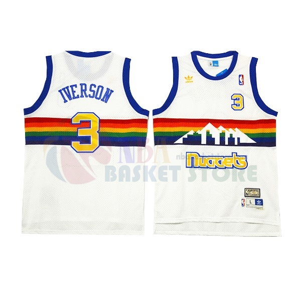 Maillot NBA Denver Nuggets NO.3 Allen Iverson Blanc 2016-2017