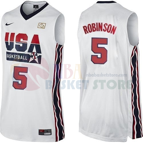 Maillot 1992 USA NO.5 David Robinson Blanc