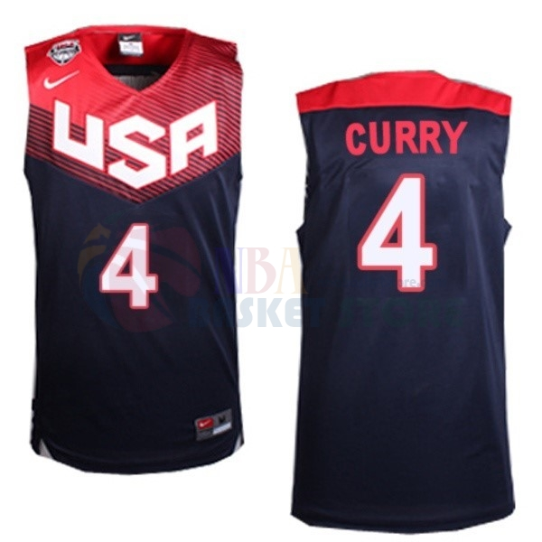 Maillot 2014 USA NO.4 Curry Noir