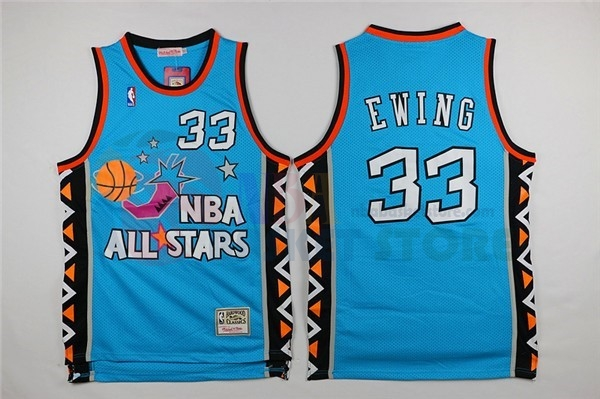 Maillot NBA 1996 All Star NO.33 Patrick Ewing Bleu