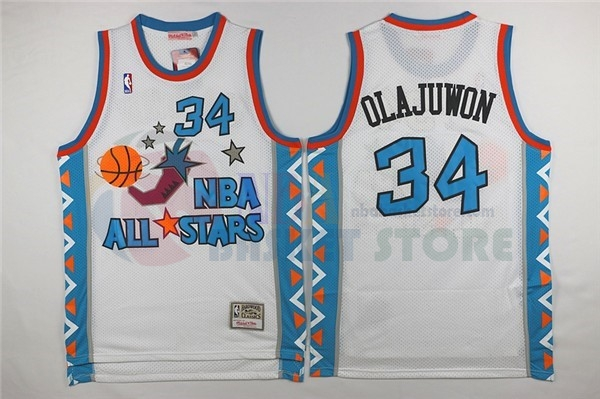 Maillot NBA 1996 All Star NO.34 Hakeem Abdul Olajuwon Blanc