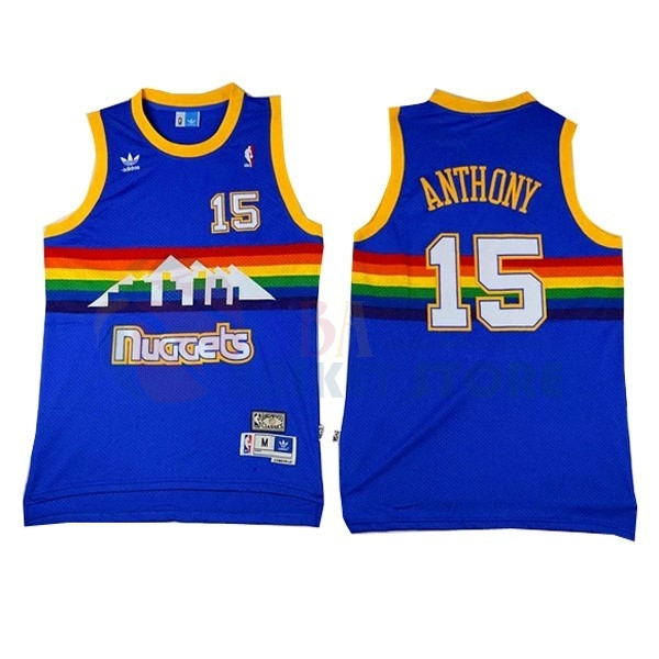 Maillot NBA Denver Nuggets NO.15 Carmelo Anthony Bleu