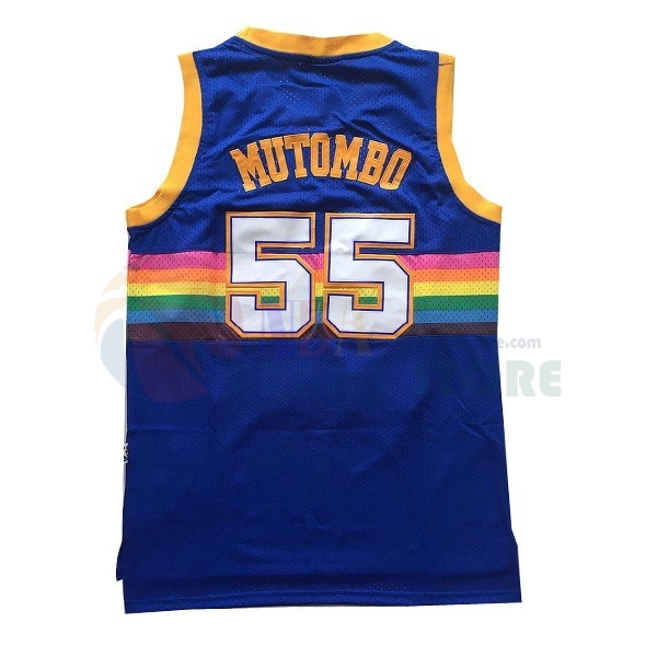 Maillot NBA Denver Nuggets NO.55 Dikembe Mutombo Bleu