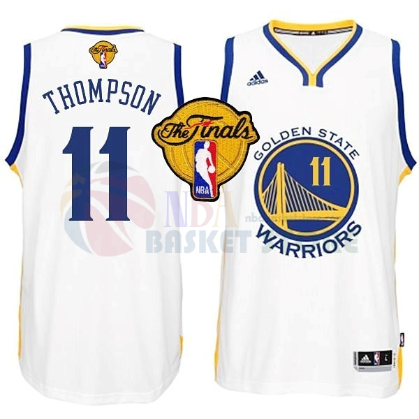 Maillot NBA Golden State Warriors NBA Finales NO.11 Thompson Blanc