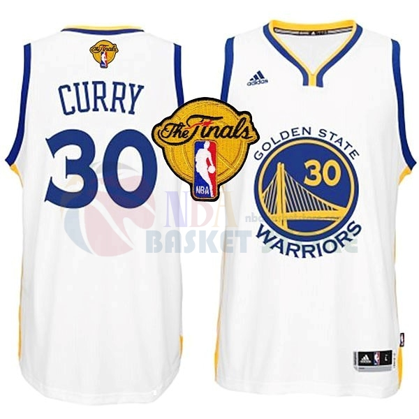 Maillot NBA Golden State Warriors NBA Finales NO.30 Curry Blanc