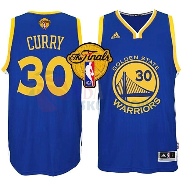 Maillot NBA Golden State Warriors NBA Finales NO.30 Curry Bleu